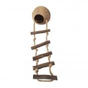 Vogelspeelgoed Cocosnoot met Touwladder en Schroefdraad