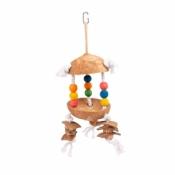Kleurrijk speeltje m cocos en blokjes op touw 15x15x29cm