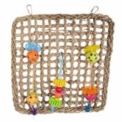 Klimnet in zeegras met kleurrijke speeltjes 41x37cm
