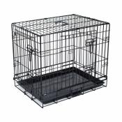 Hondenbench 2-Deurs Zwart 121x76x89 cm