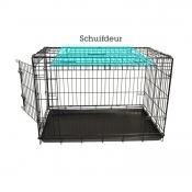 Hondenbench 2-Deurs Met Schuifdeur Zwart 62x44x50 cm